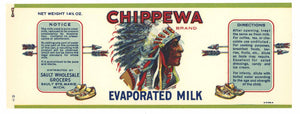 Chipppewa Brand Vintage Sault Ste. Marie Evaporated Milk Can Label