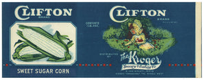Clifton Brand Vintage Ohio Corn Can Label