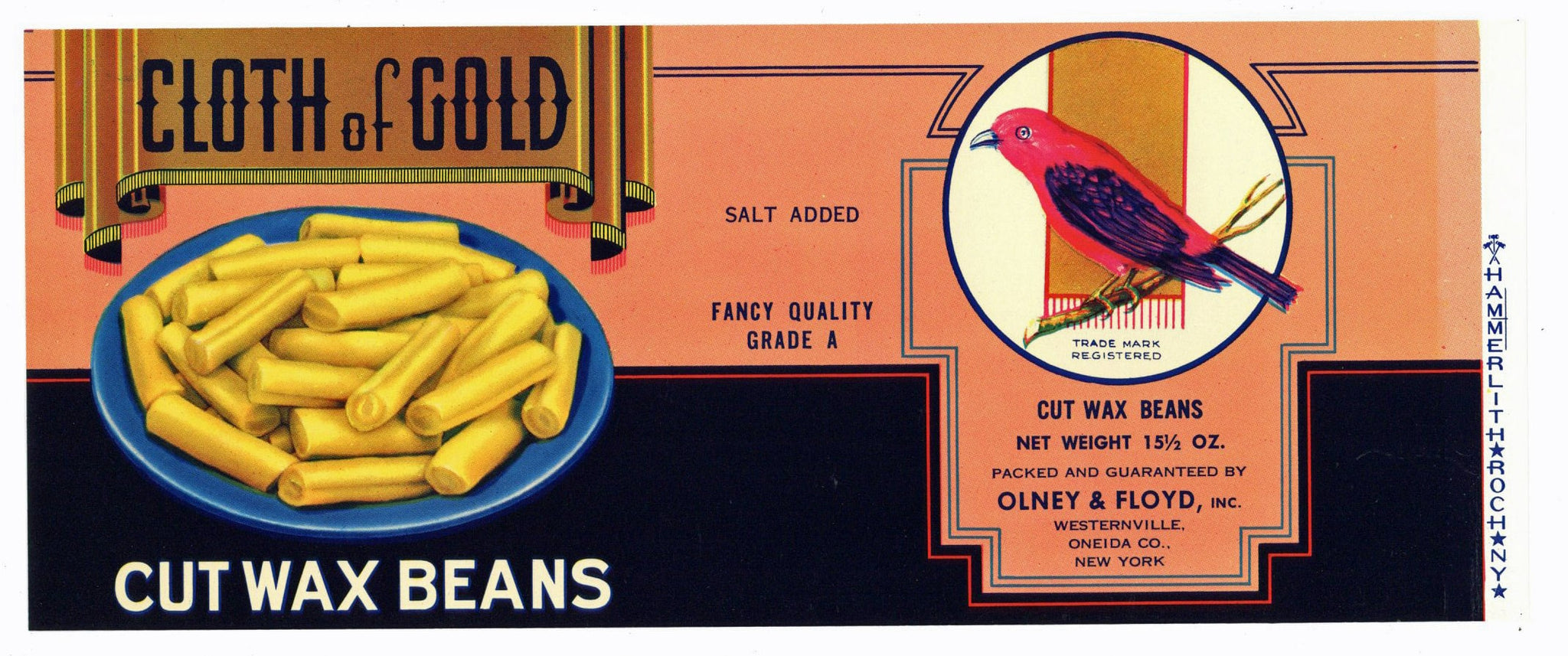 Cloth Of Gold Brand Vintage Olney & Floyd Can Label, bird