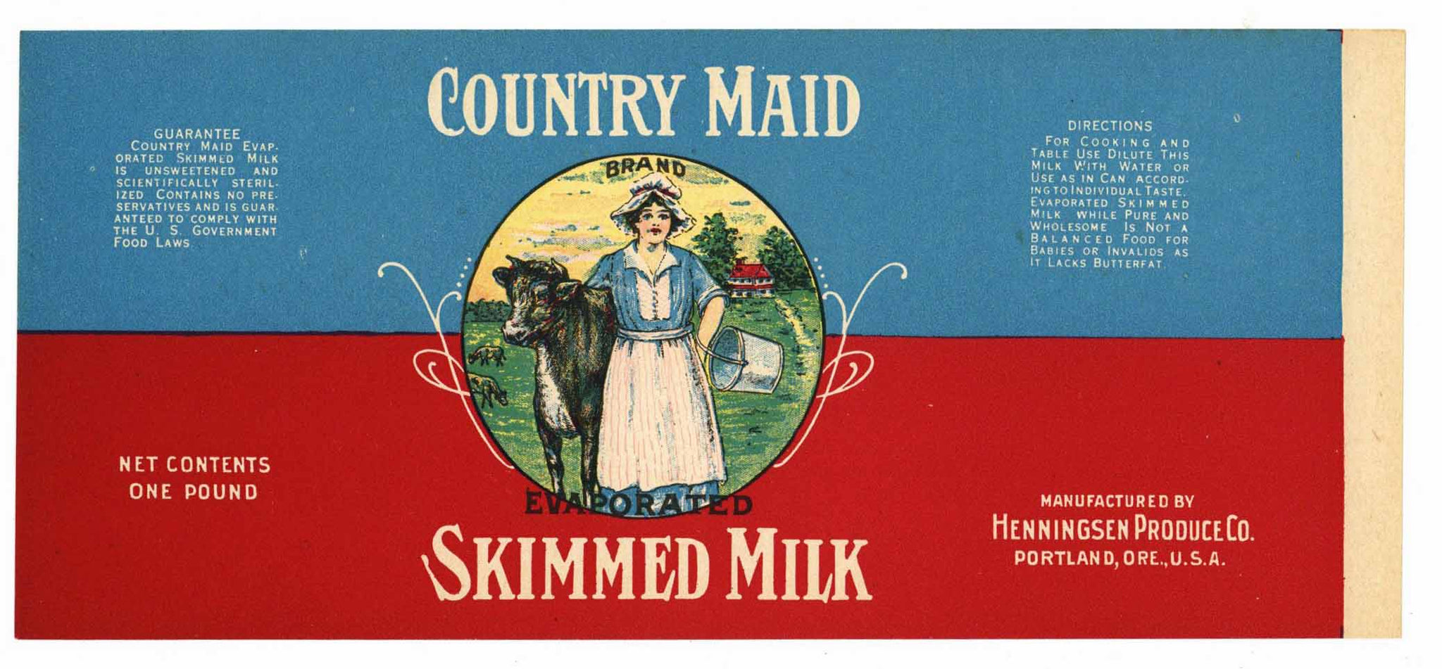 COUNTRY MAID Brand Vintage Milk Label (CAN242)