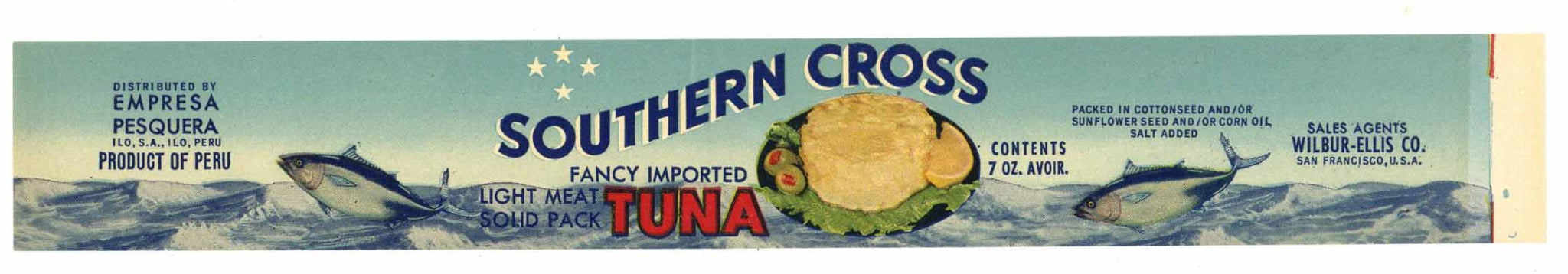 Southern Cross Brand Vintage Tuna Can Label