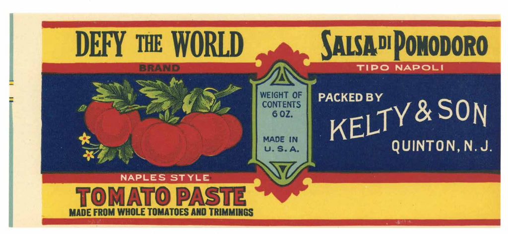 Defy The World Brand Vintage Tomato Paste Can Label, s