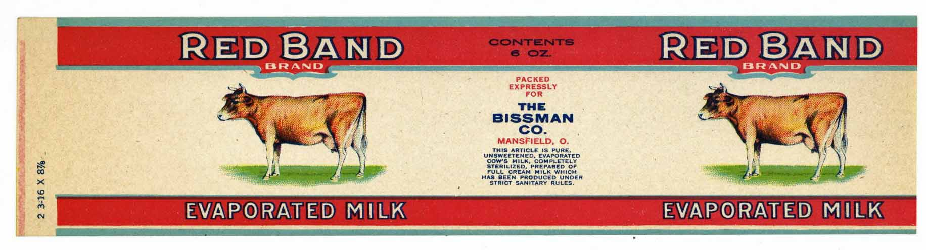 Red Band Brand Vintage Mansfield Ohio Evaporated Milk Can Label