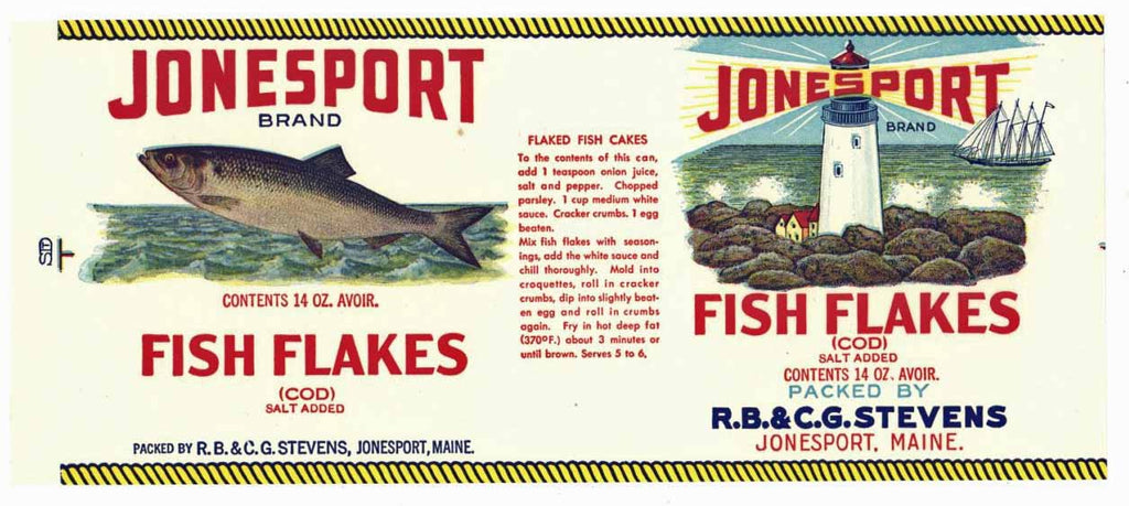 Jonesport Brand Vintage Cod Can Label