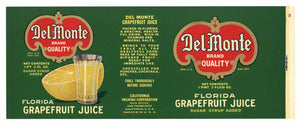 Del Monte Brand Vintage Grapefruit Juice Can Label