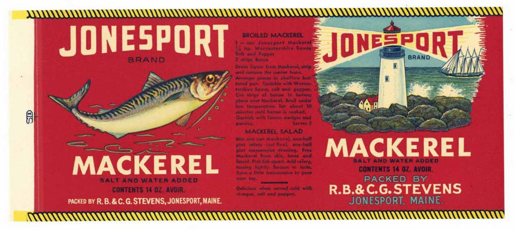 Jonesport Brand Vintage Maine Mackerel Can Label