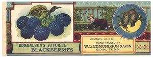 Edmondson's Favorite Brand Vintage Goin Tennessee Berry Can Label