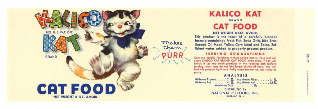 Kalico Kat Brand Vintage Cat Food Can Label