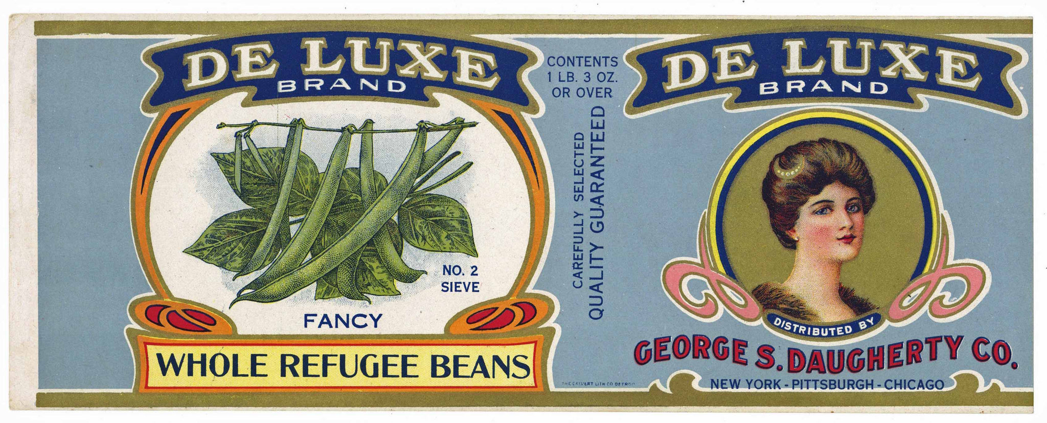 De Luxe Brand Vintage Refugee Bean Can Label
