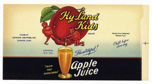 Hy-Land Kids Brand Vintage Washington Apple Juice Can Label