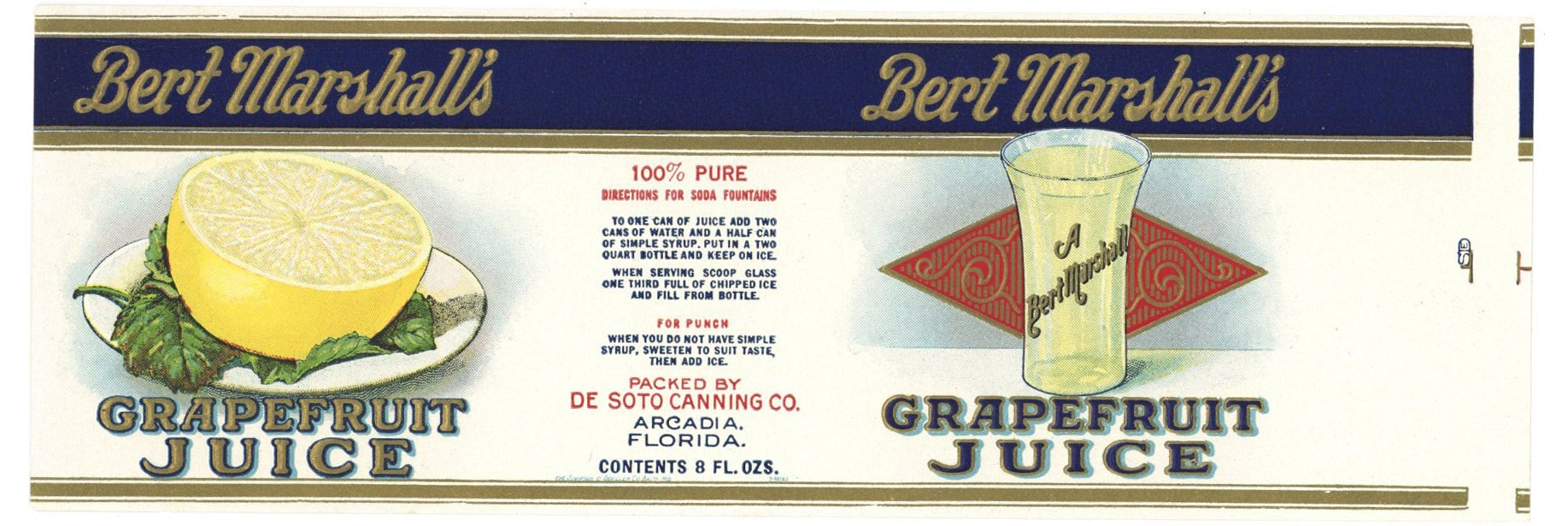 Bert Marshall's Brand Vintage Florida Grapefruit Juice Can Label