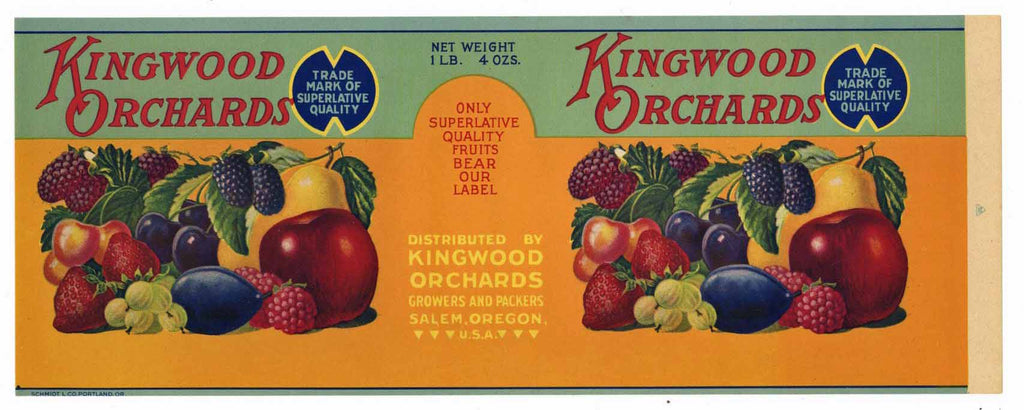 Kingwood Orchards Brand Vintage Salem Oregon Fruit Can Label