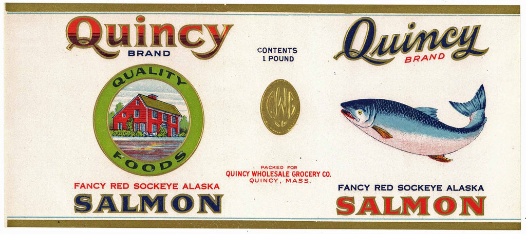 Quincy Brand Vintage Alaska Salmon Can Label