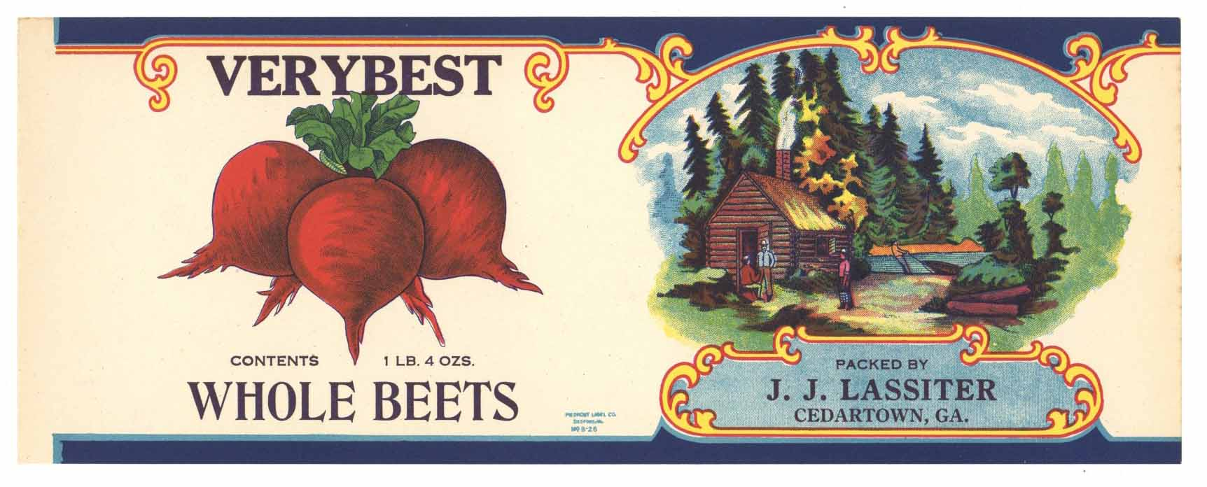 Very Best Brand Vintage Beet Can Label