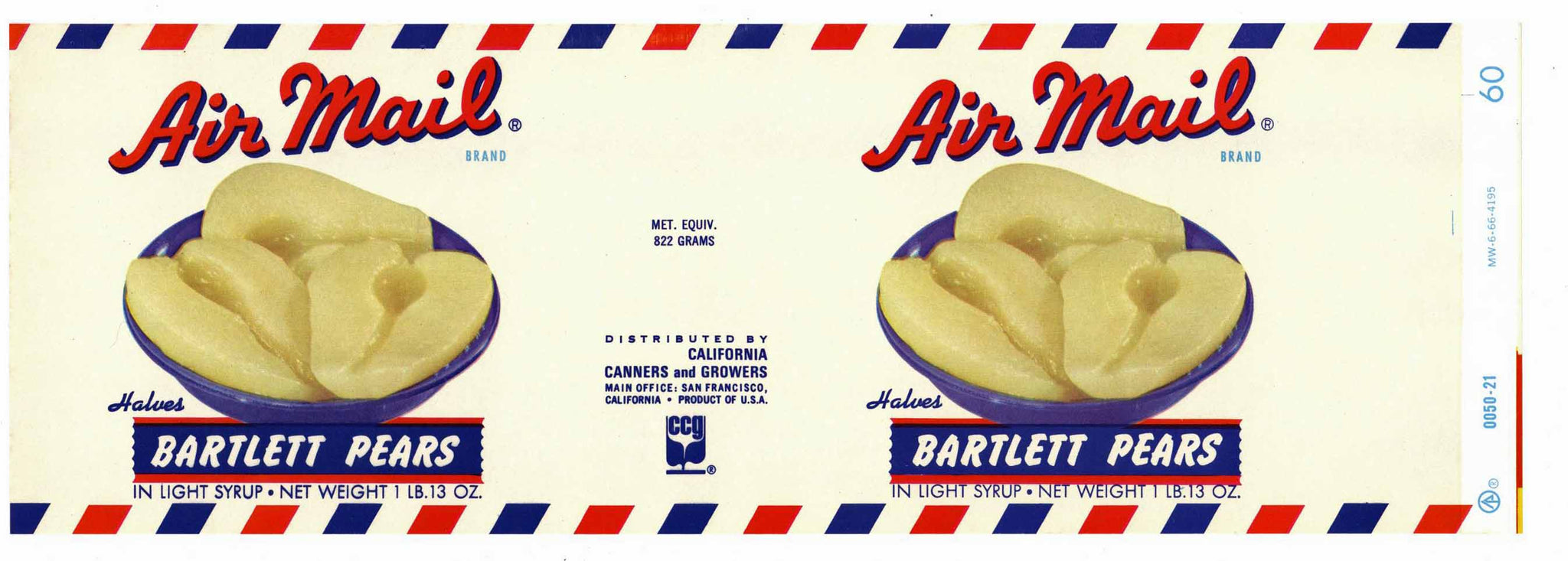Air Mail Brand Vintage California Canners And Growers Can Label