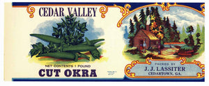 CEDAR VALLEY Brand Vintage Okra Can Label (CAN279)