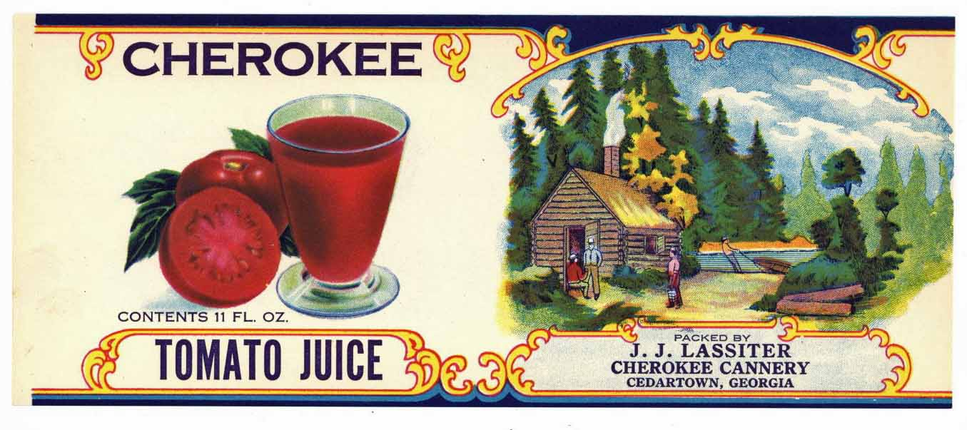 CHEROKEE Brand Vintage Tomato Juice Can Label