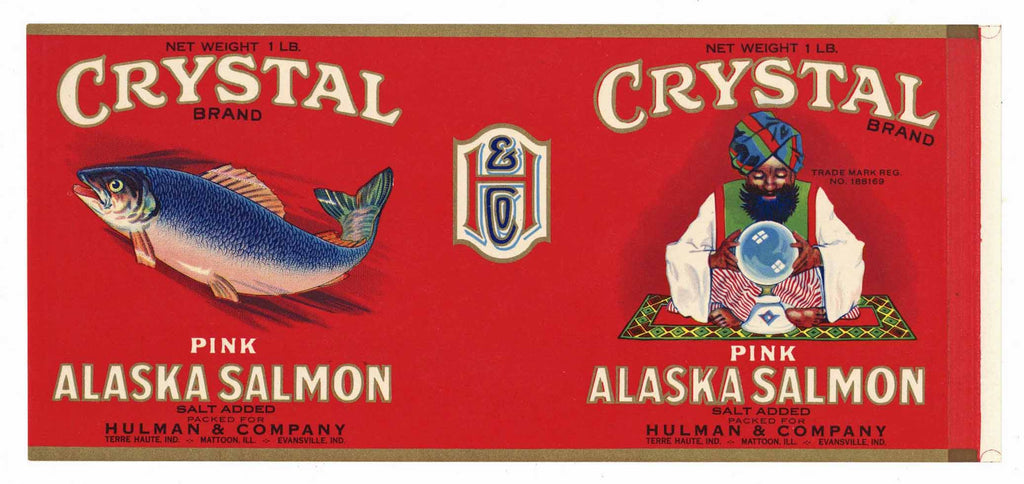CRYSTAL Brand Vintage Salmon Can Label (CAN2845)