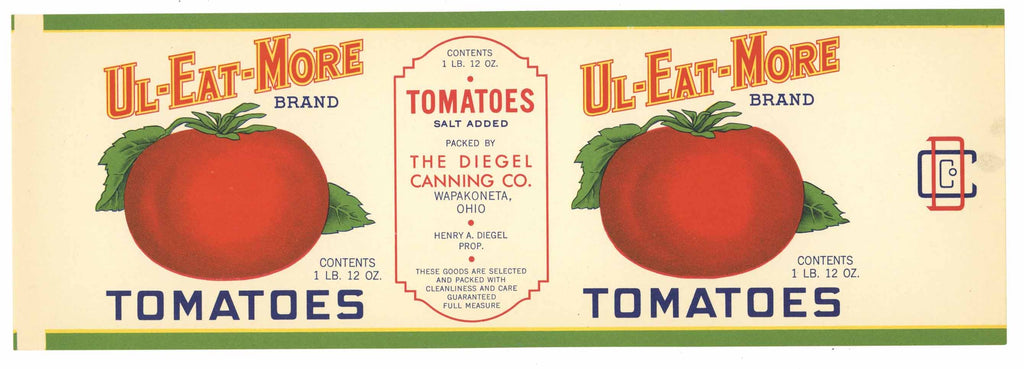 Ul Eat More Brand Vintage Wapakoneta Ohio Tomato Can Label