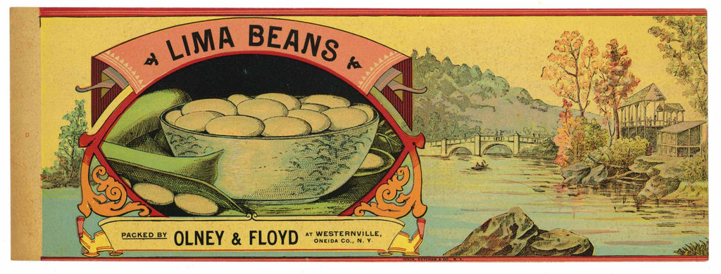 Lima Beans Brand Vintage 1890's Can Label