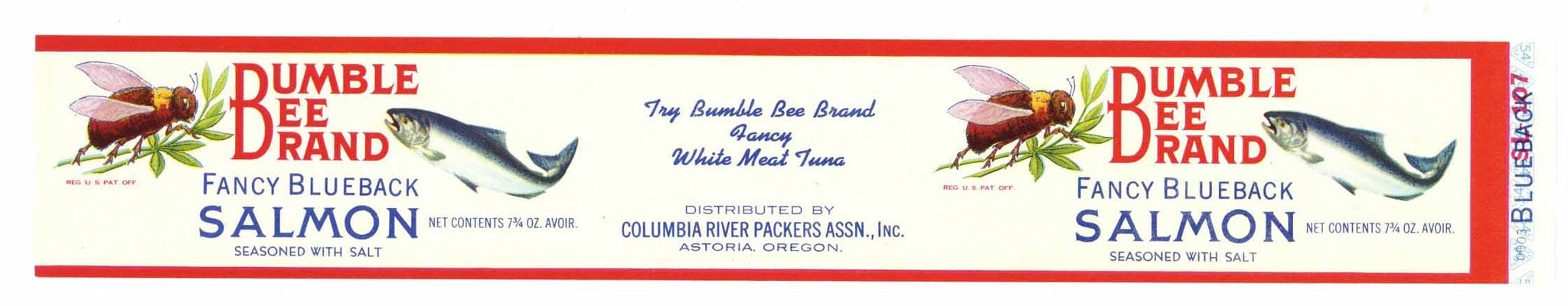 Bumble Bee Brand Vintage Astoria Oregon Salmon Can Label