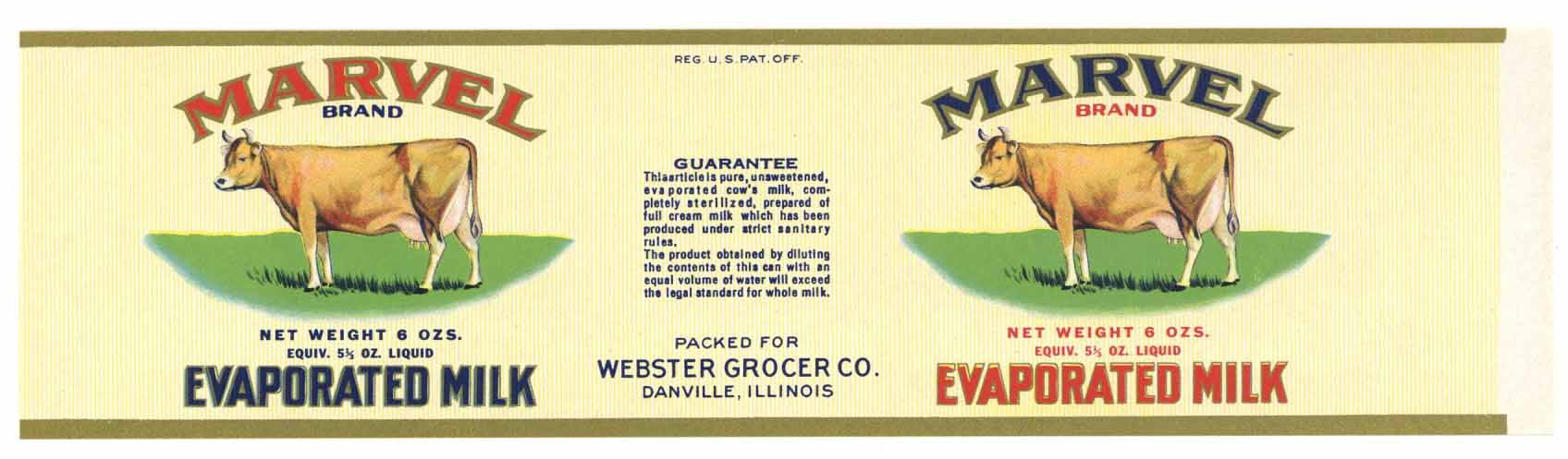 Marvel Brand Vintage Danville Illinois Evaporated Milk Can Label