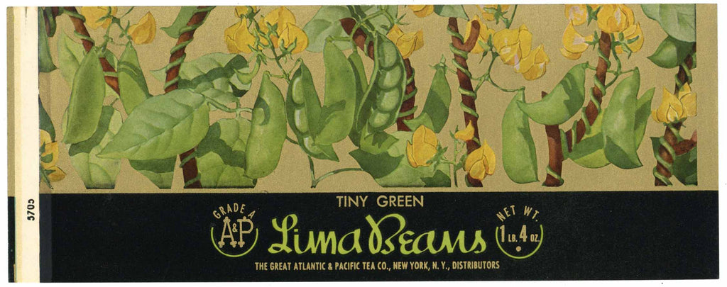 Lima Beans Brand Vintage Great Atlantic & Pacific Tea Co. Can Label
