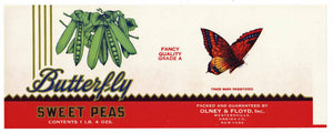 Butterfly Brand Vintage Olney & FLoyd Sweet Peas Can Label