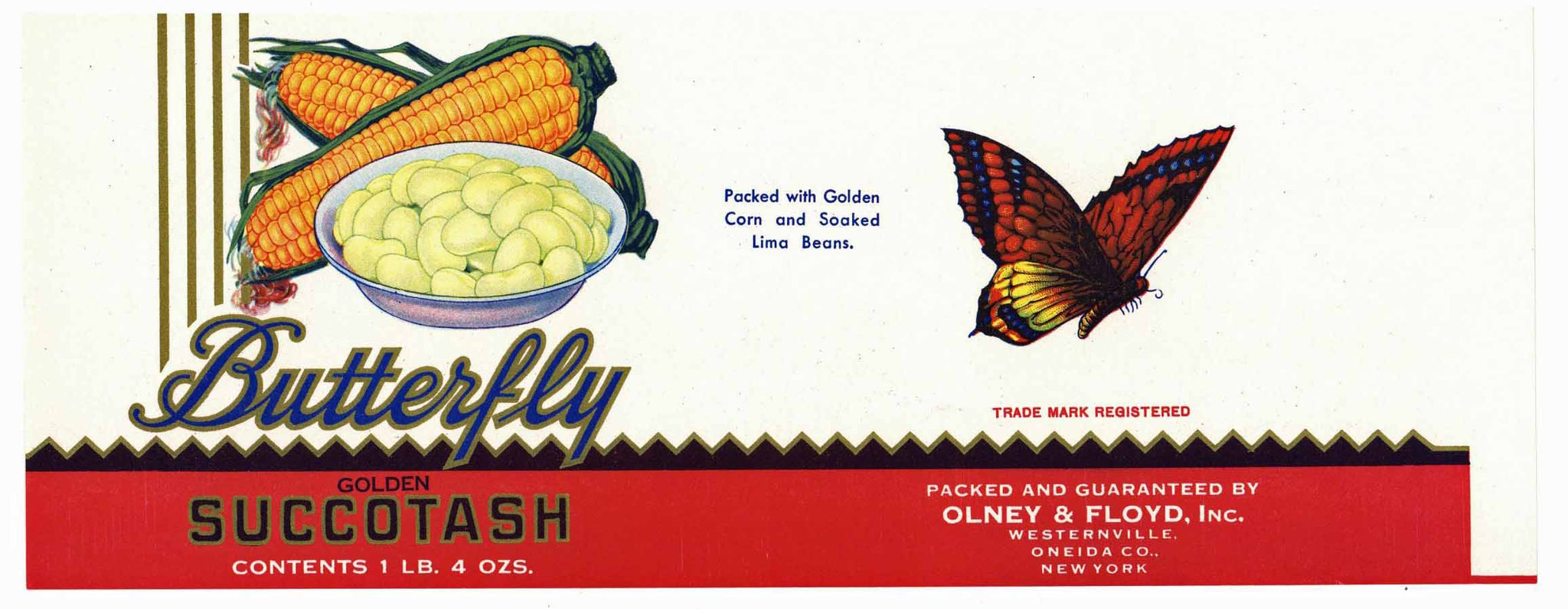 Butterfly Brand Vintage Olney & FLoyd Succotash Can Label