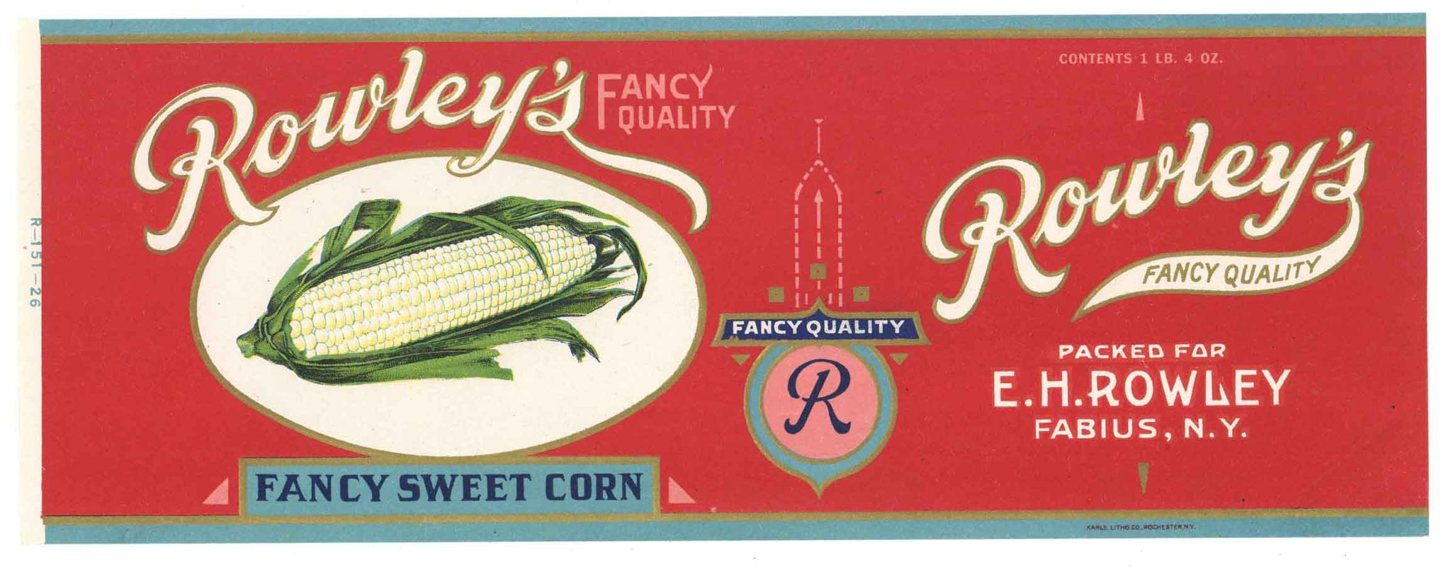 Rowley's Brand Vintage New York Fancy Sweet Corn Can Label
