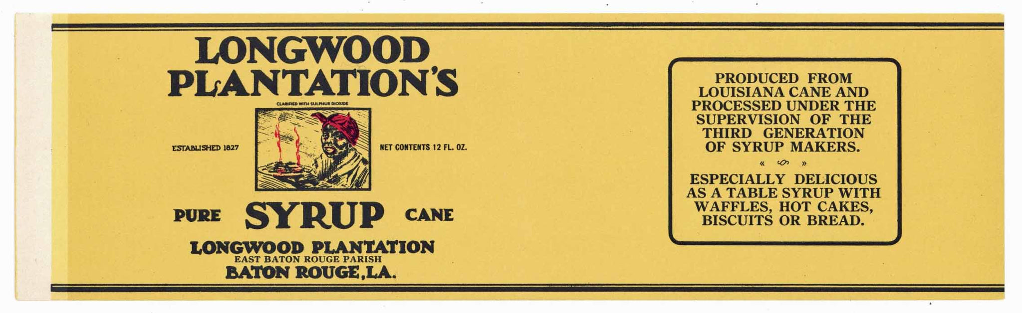 Longwood Plantations Brand Vintage Georgia Syrup Label, long
