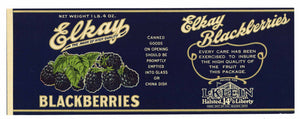 Elkay Brand Vintage Blackberry Can Label, s