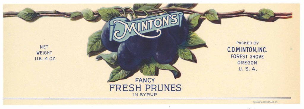 Minton's Brand Vintage Forest Grove Oregon Prune Can Label