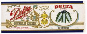 Delta Brand Vintage Olney & Floyd Sugar Corn Can Label