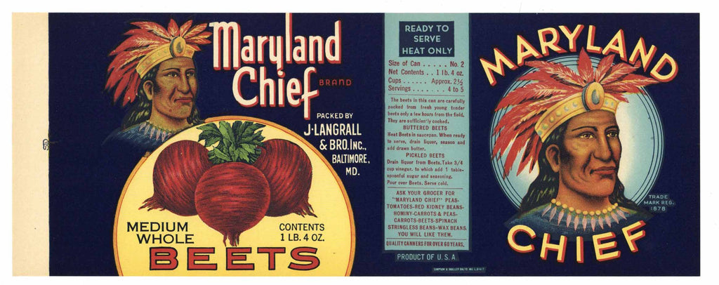 Maryland Chief Brand Vintage Beets Can Label