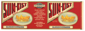 Sun-Kist Brand Vintage Sliced Peaches Can Label