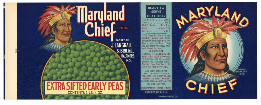 Maryland Chief Brand Vintage Sifted Peas Can Label