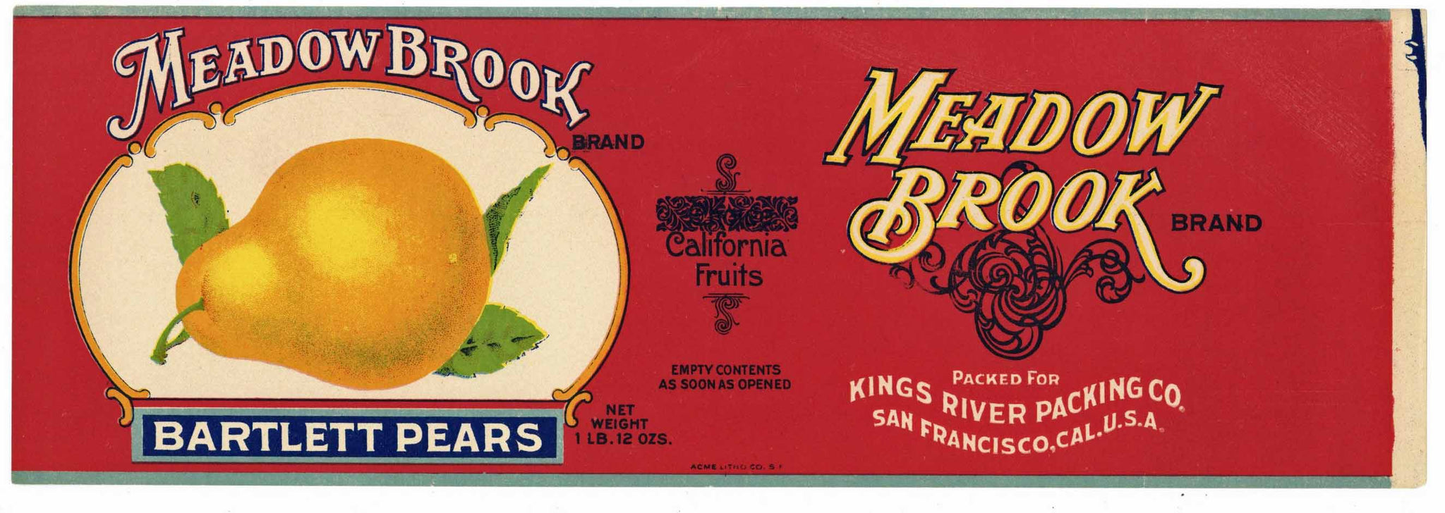 Meadow Brook Brand Vintage Pear Can Label