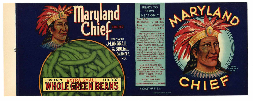 Maryland Chief Brand Vintage Bean Can Label, Maryland