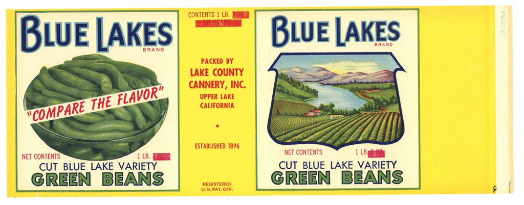 Blue Lakes Brand Vintage Lake County Bean Can Label