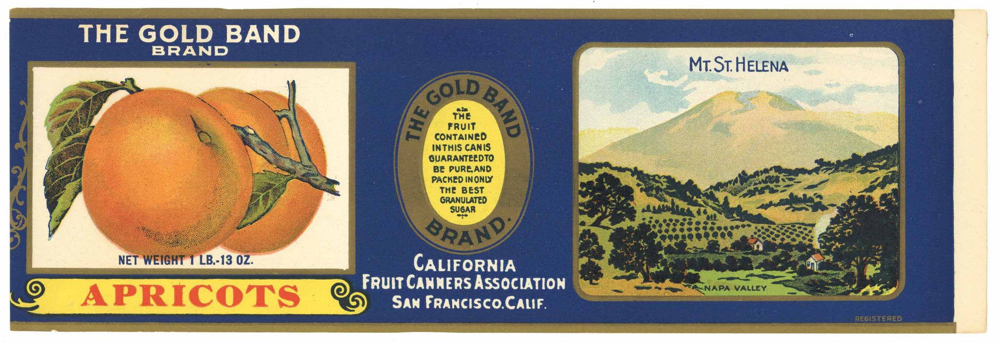 The Gold Band Brand Vintage Napa Valley Apricot Can Label