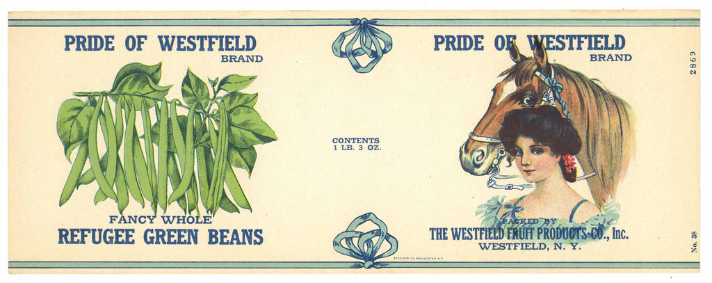 Pride of Westfield Brand Vintage New York Bean Can Label