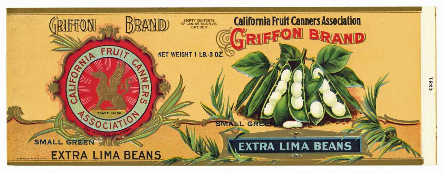 Griffon Brand Vintage Lima Beans Can Label