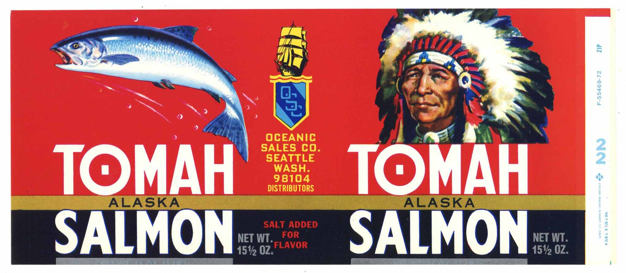 Tomah Brand Vintage Seattle Washington Salmon Can Label