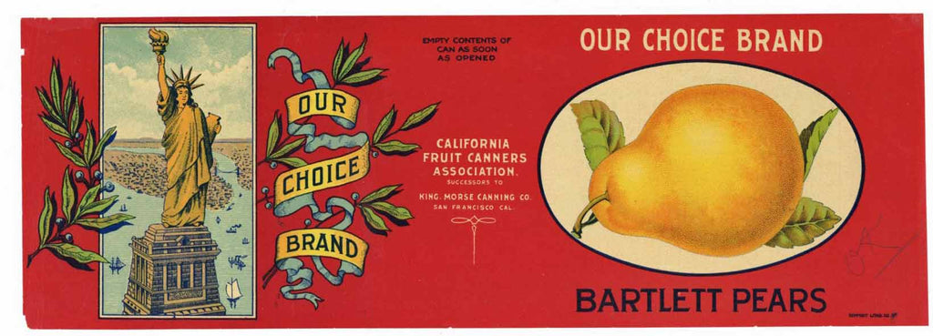 Our Choice Brand Vintage Pear Can Label