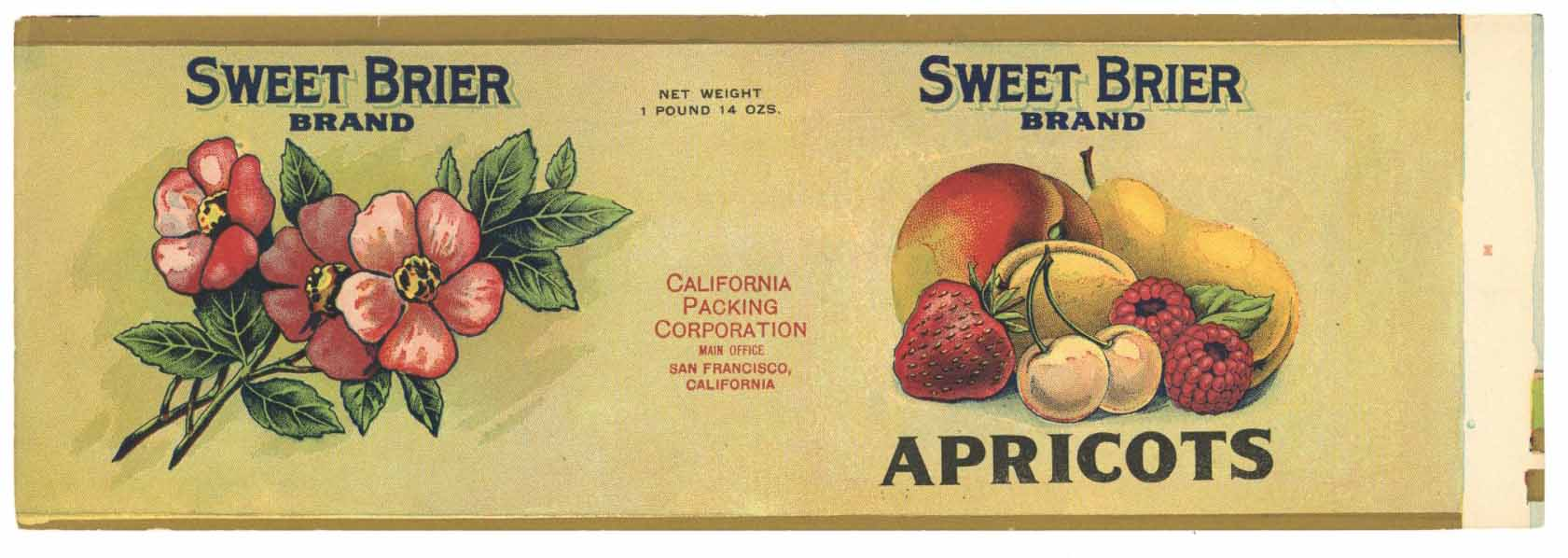 Sweet Brier Brand Vintage Mixed Fruit Can Label