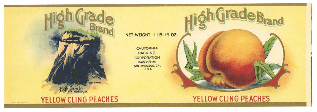 High Grade Brand Vintage Peach Can Label