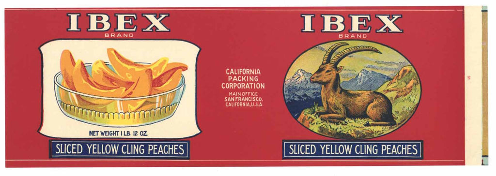 Ibex Brand Vintage Peach Can Label