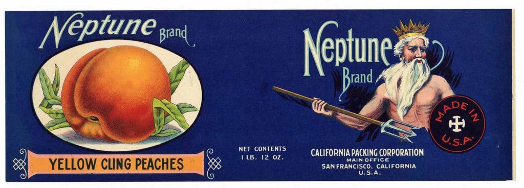 Neptune Brand Vintage Peach Can Label