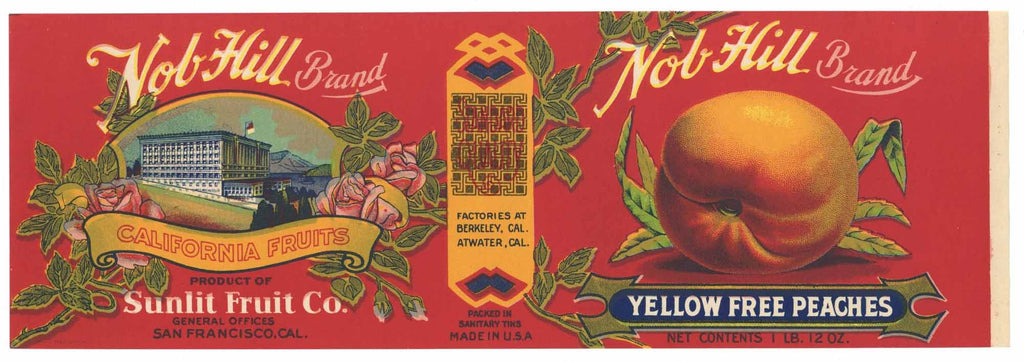 Nob Hill Brand Vintage Peach Can Label